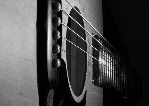 medium_6791281378 Play Music To Reduce Stress: Photo - B&W of an acoustic guitar
